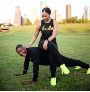 Cute Lady Sits On Top Of Her Fiance As He Does Press-Up In Another Pre-Wedding Photo